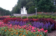 commercial flowerbed with fountain